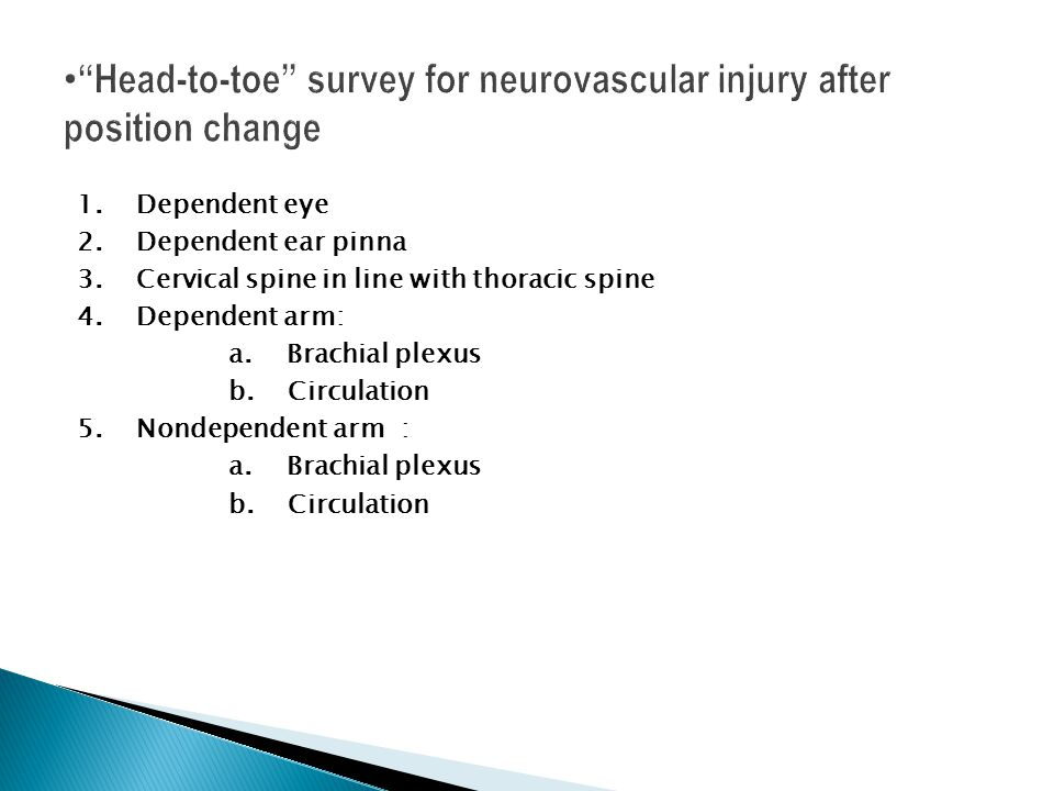 Head-to-toe survey for neurovascular injury after position change
