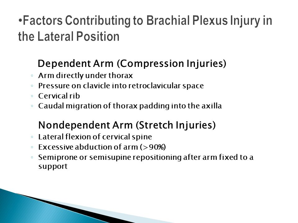 Factors Contributing to Brachial Plexus Injury in the Lateral Position