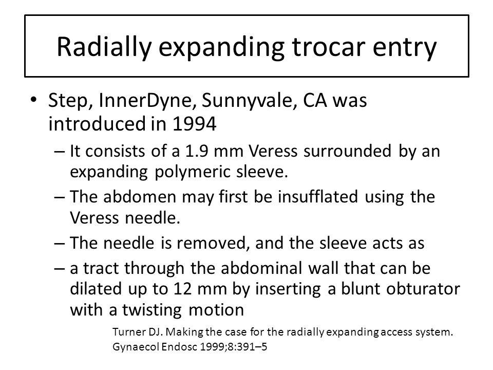 Radially expanding trocar entry