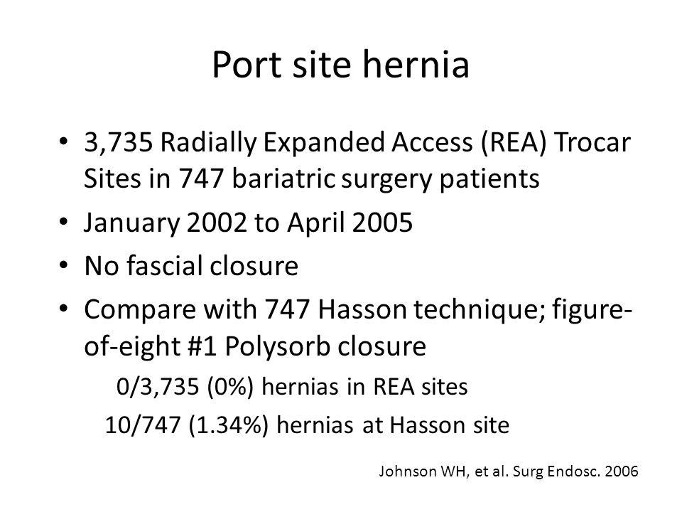 Port site hernia 3,735 Radially Expanded Access (REA) Trocar Sites in 747 bariatric surgery patients.