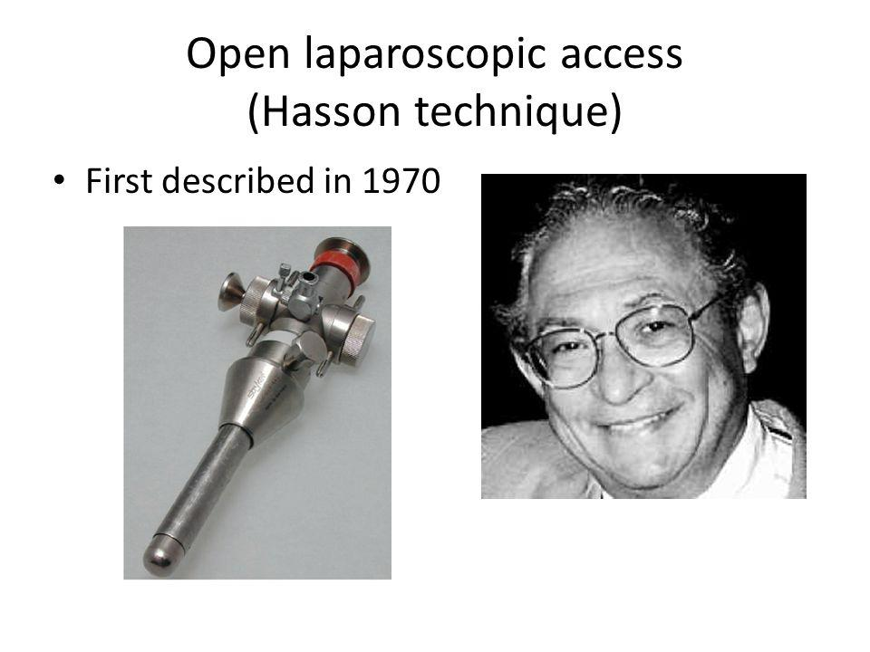 Open laparoscopic access (Hasson technique)