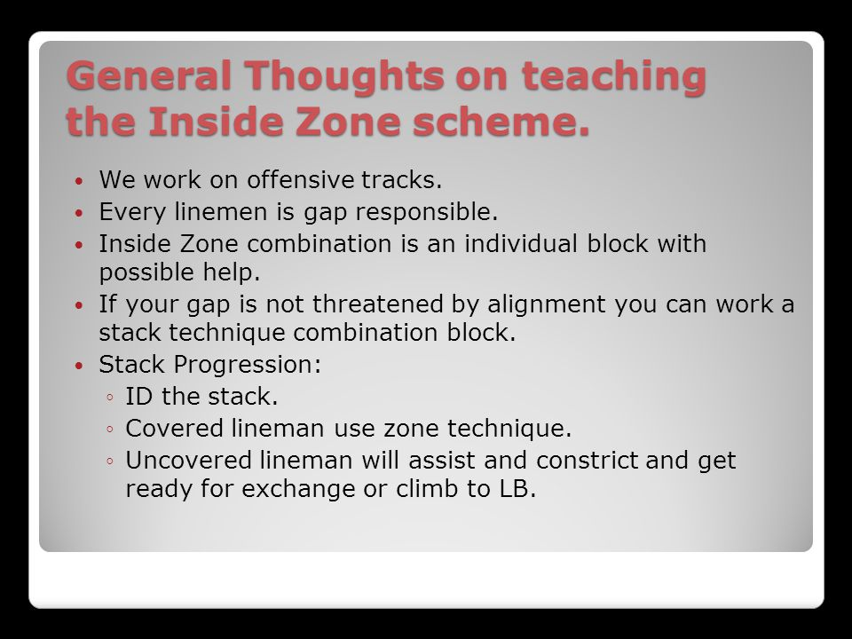 General Thoughts on teaching the Inside Zone scheme.