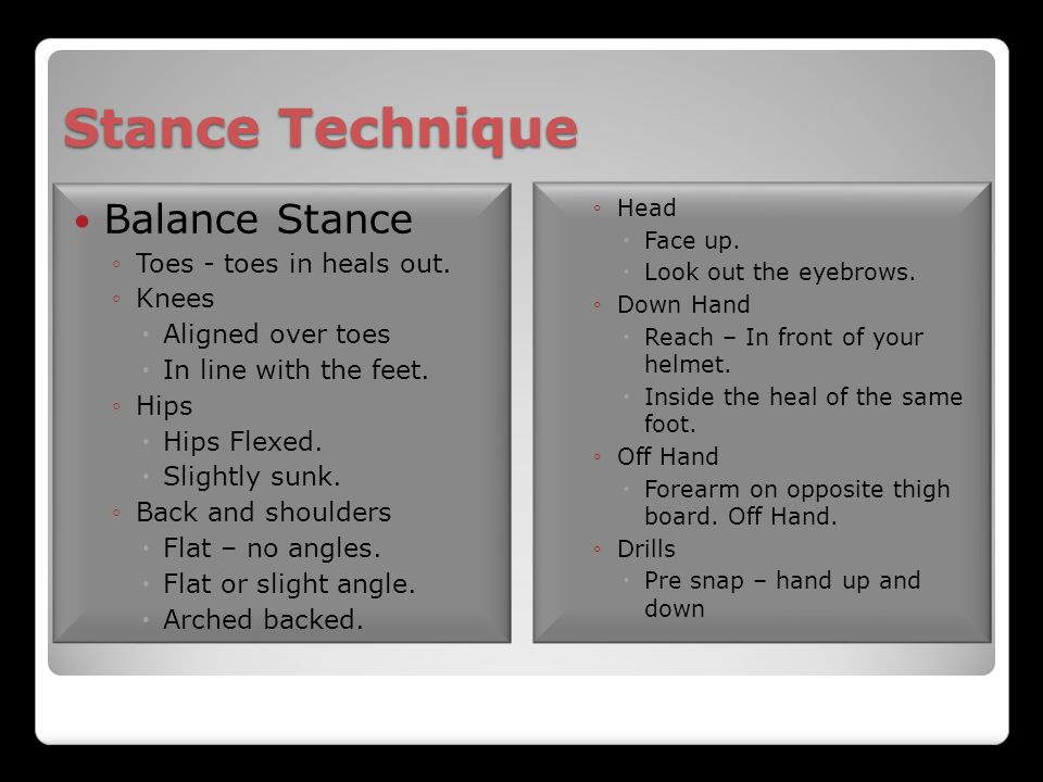 Stance Technique Balance Stance Toes - toes in heals out. Knees