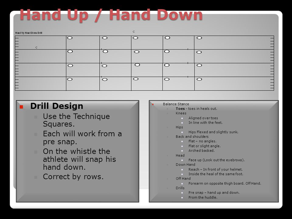 Hand Up / Hand Down Drill Design Use the Technique Squares.
