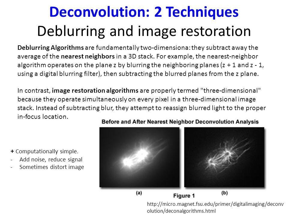 Deconvolution: 2 Techniques Deblurring and image restoration