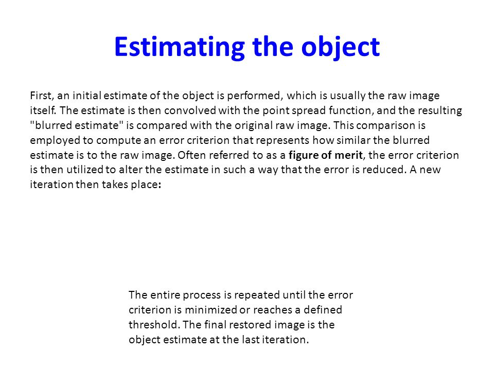 Estimating the object