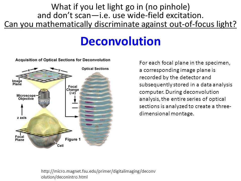 Deconvolution What if you let light go in (no pinhole)