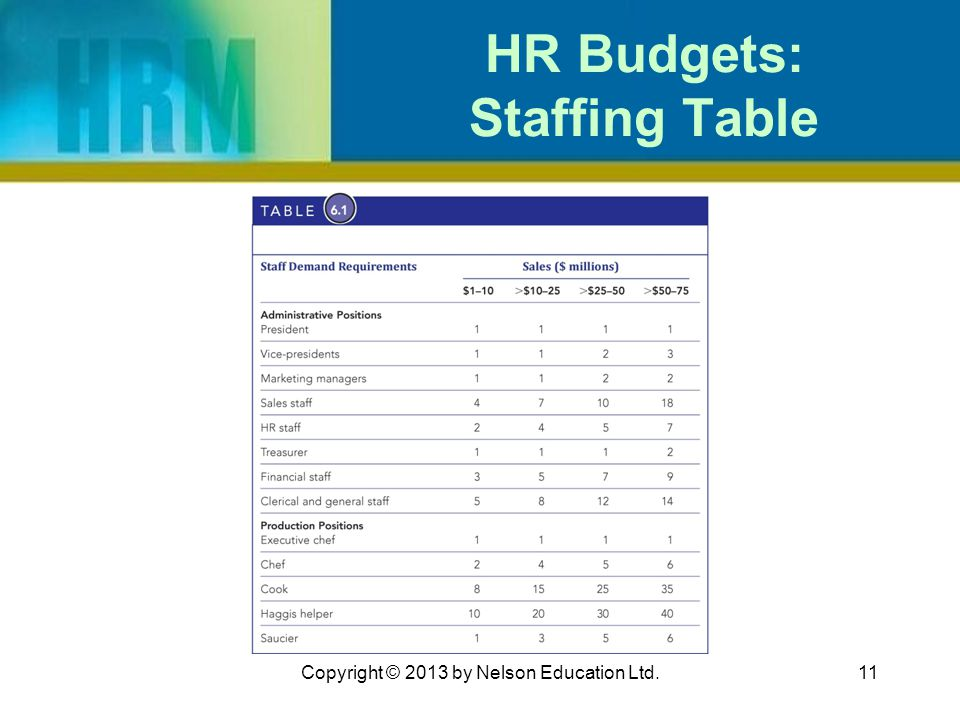 HR Budgets: Staffing Table