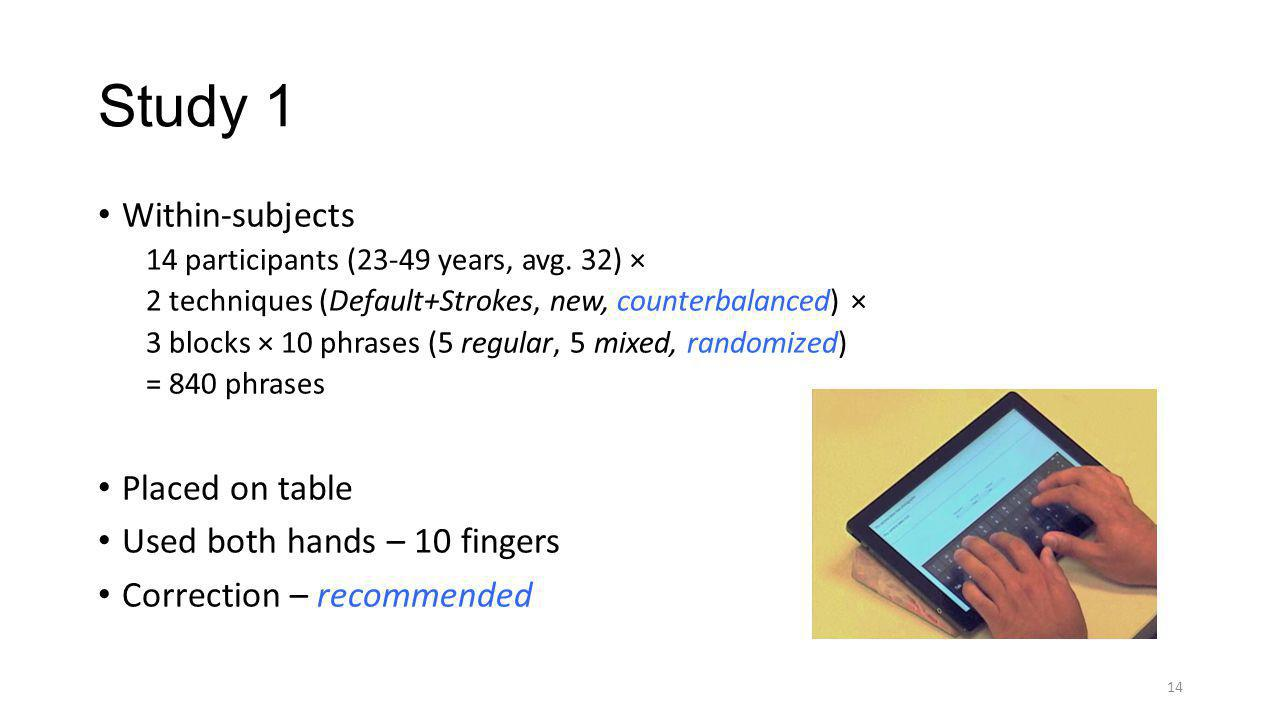 Study 1 Within-subjects Placed on table Used both hands – 10 fingers