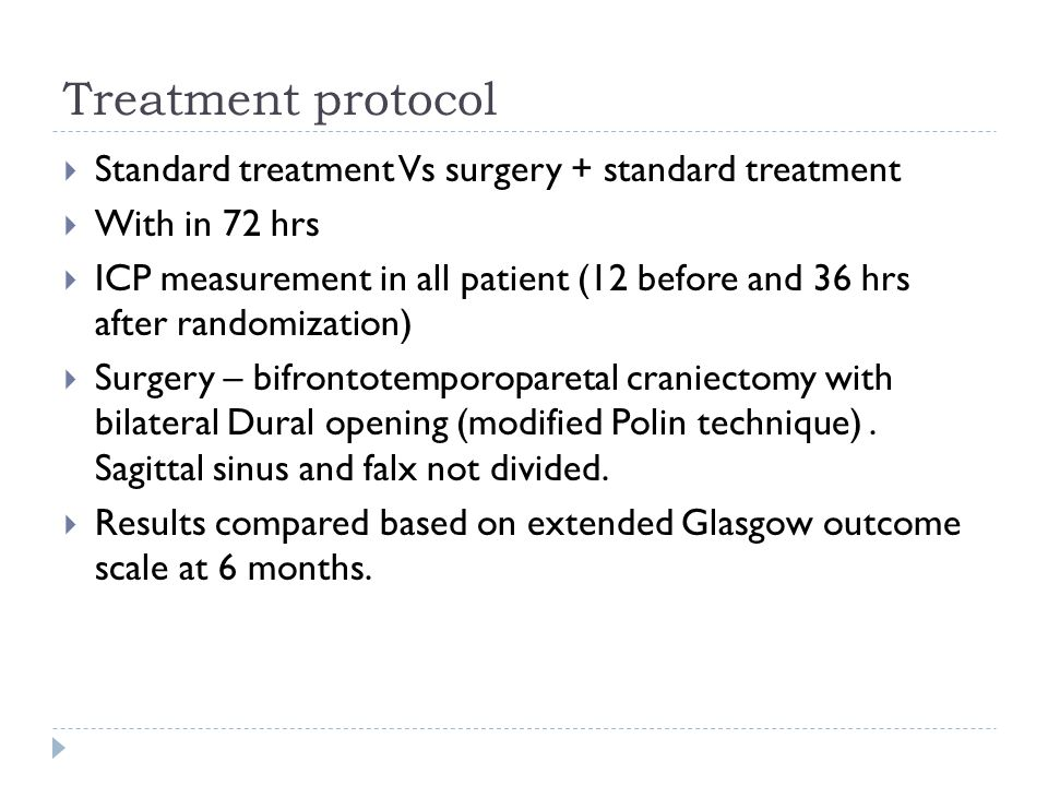 Treatment protocol Standard treatment Vs surgery + standard treatment