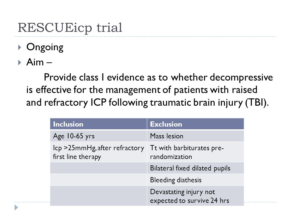 RESCUEicp trial Ongoing Aim –
