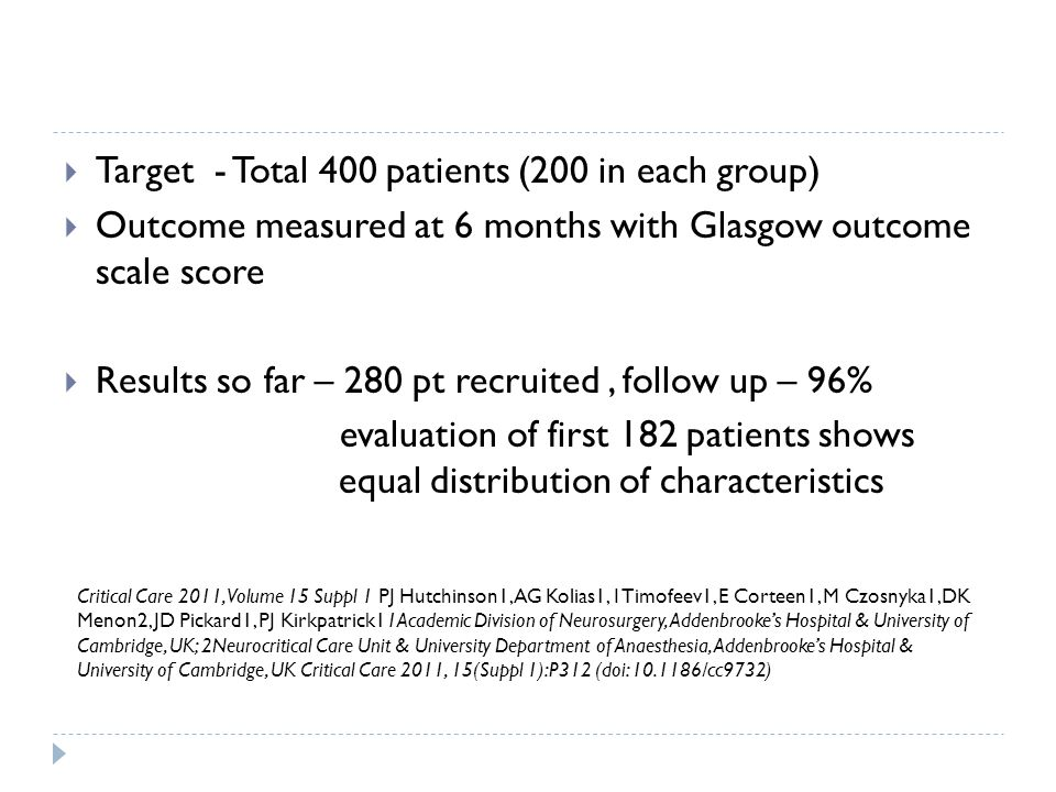 Target - Total 400 patients (200 in each group)