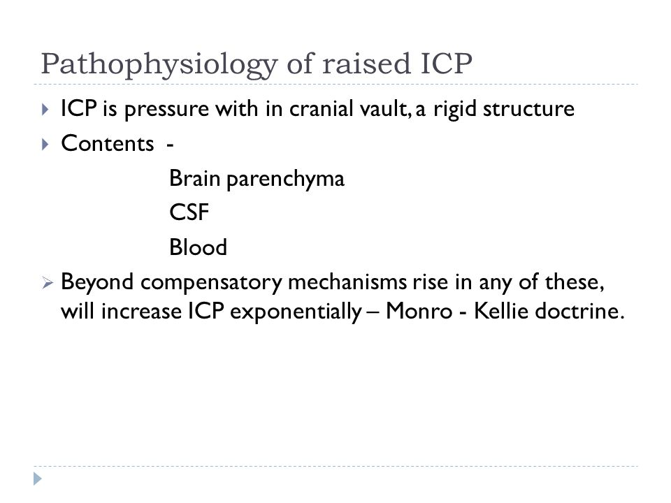 Pathophysiology of raised ICP