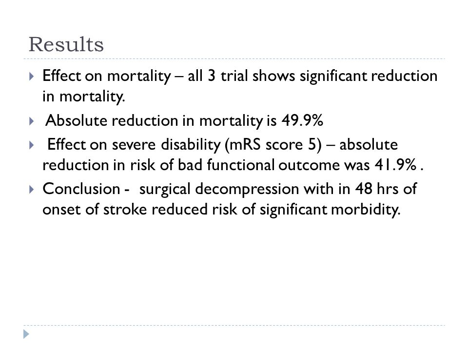 Results Effect on mortality – all 3 trial shows significant reduction in mortality. Absolute reduction in mortality is 49.9%