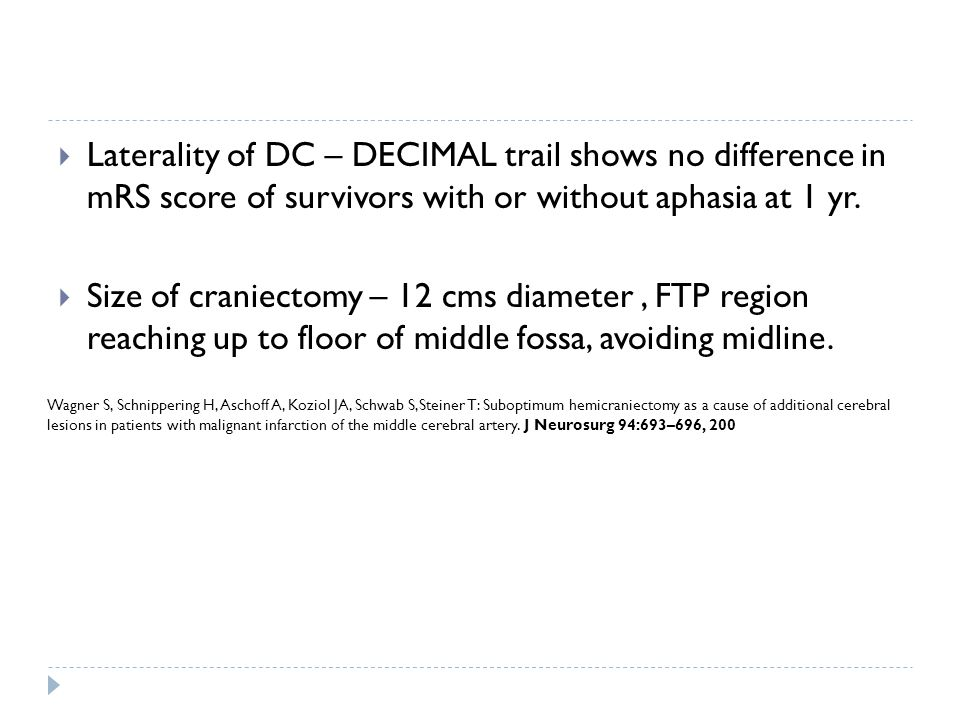 Laterality of DC – DECIMAL trail shows no difference in mRS score of survivors with or without aphasia at 1 yr.