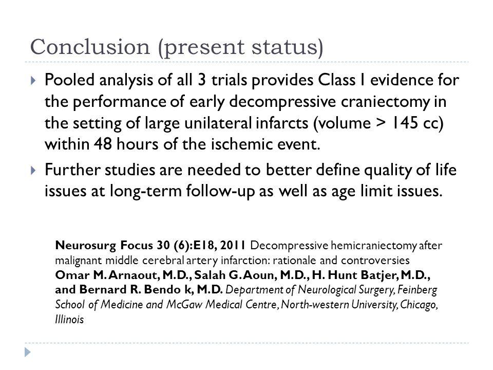 Conclusion (present status)