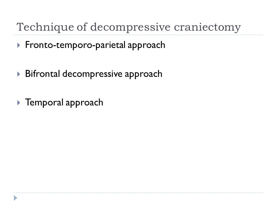 Technique of decompressive craniectomy