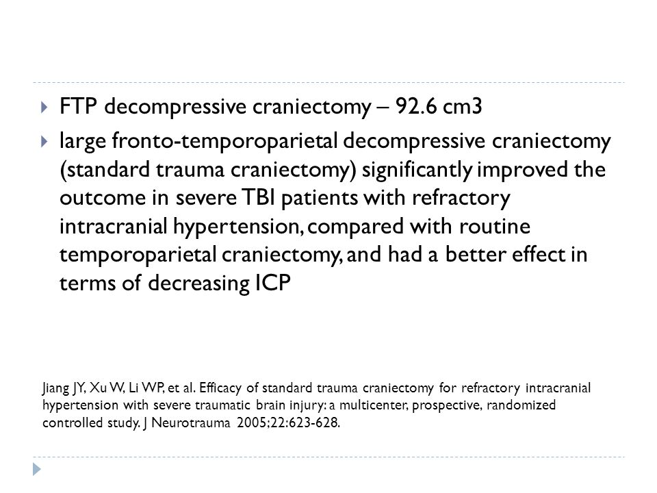 FTP decompressive craniectomy – 92.6 cm3
