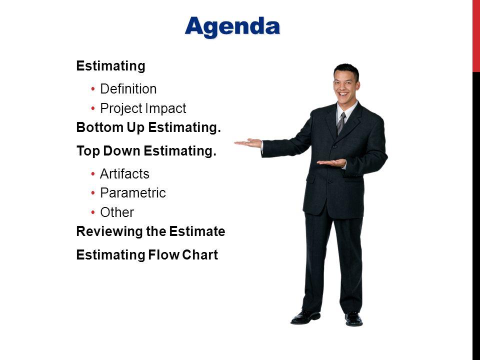 Agenda Estimating Definition Project Impact Bottom Up Estimating.