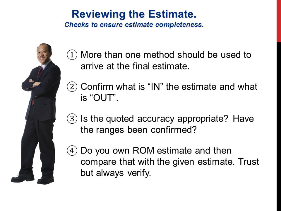 Reviewing the Estimate. Checks to ensure estimate completeness.