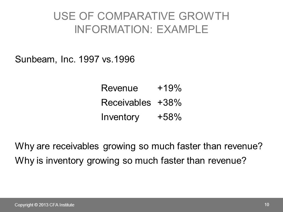 Use of Comparative Growth Information: example