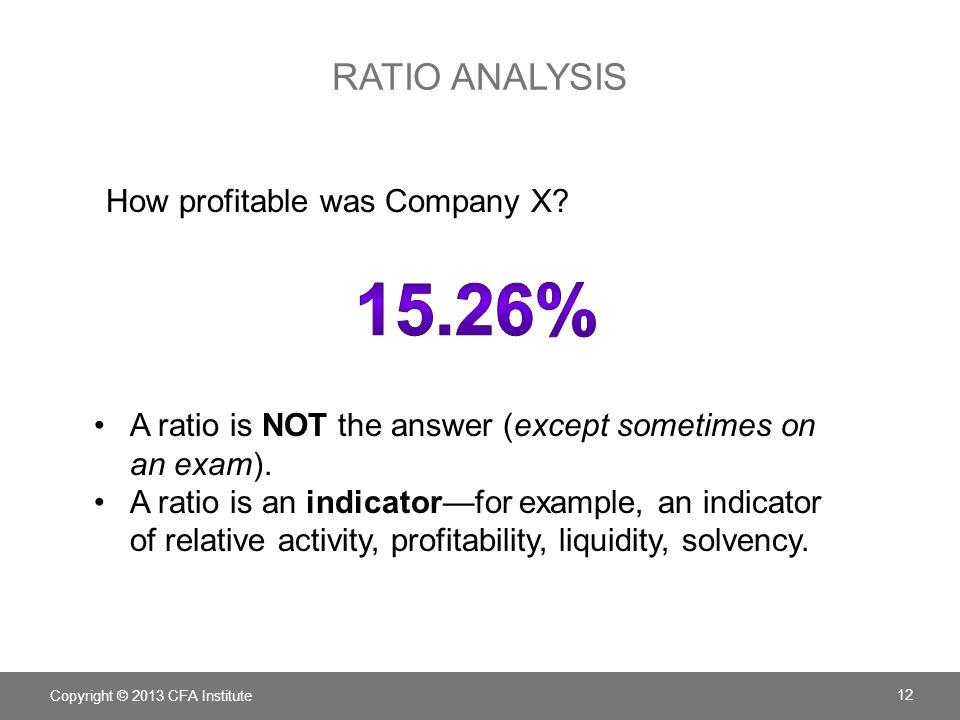 15.26% ratio analysis How profitable was Company X
