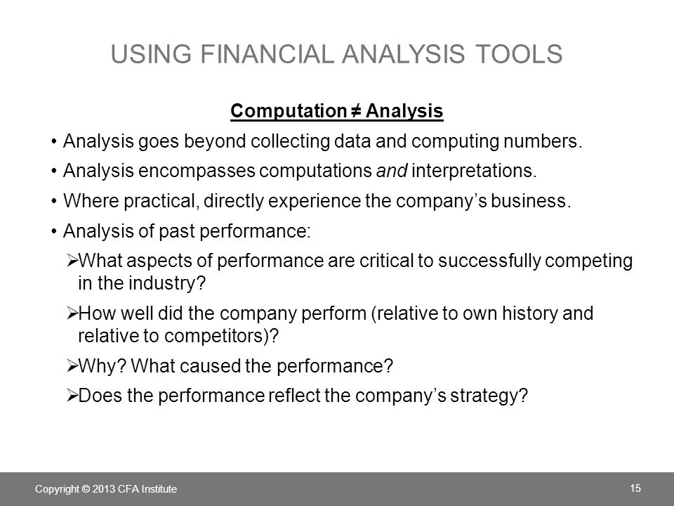 Using Financial analysis tools