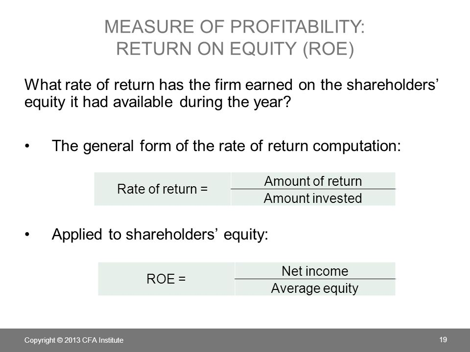 Measure of profitability: Return on Equity (ROE)