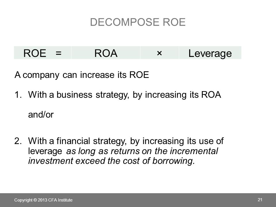 Decompose ROE ROE = ROA × Leverage A company can increase its ROE