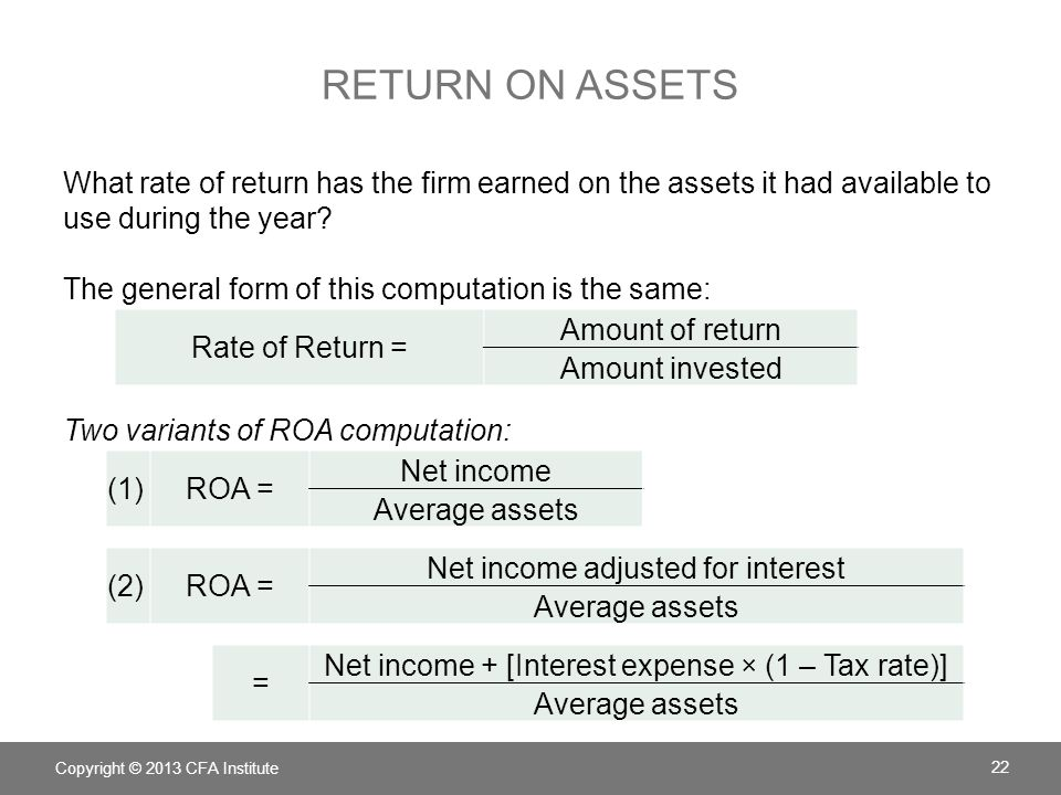 Return on Assets What rate of return has the firm earned on the assets it had available to use during the year