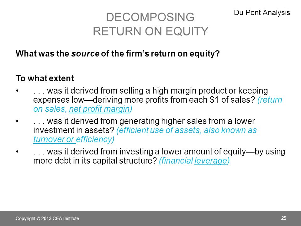 Decomposing Return on Equity