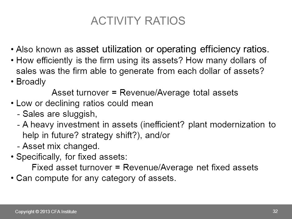 Activity ratios Also known as asset utilization or operating efficiency ratios.
