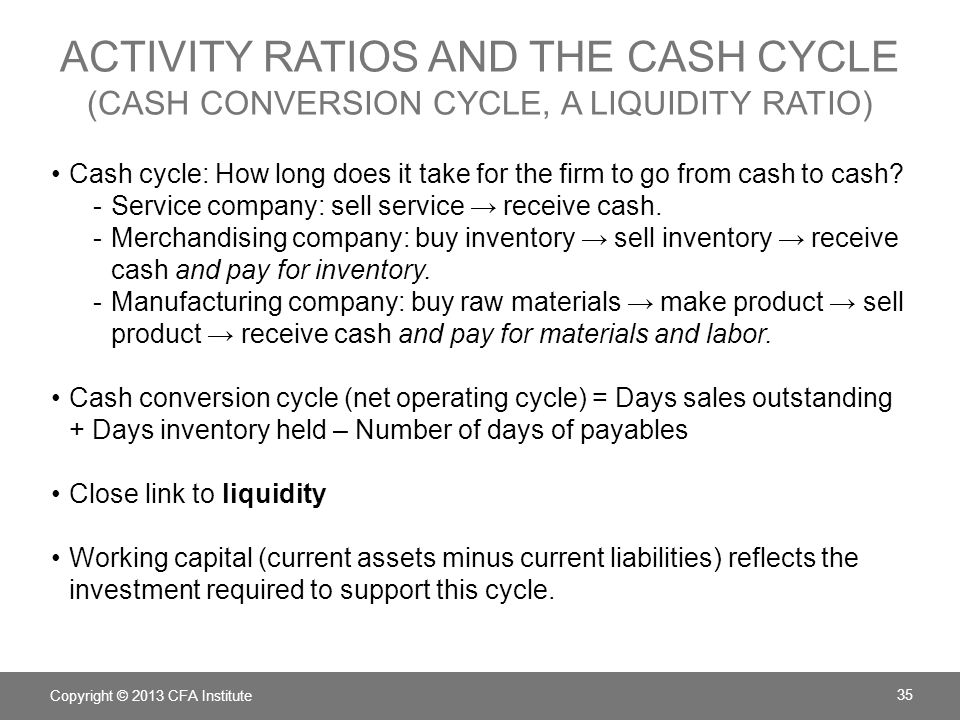 Activity ratios AND the cash cycle (cash conversion cycle, a liquidity ratio)