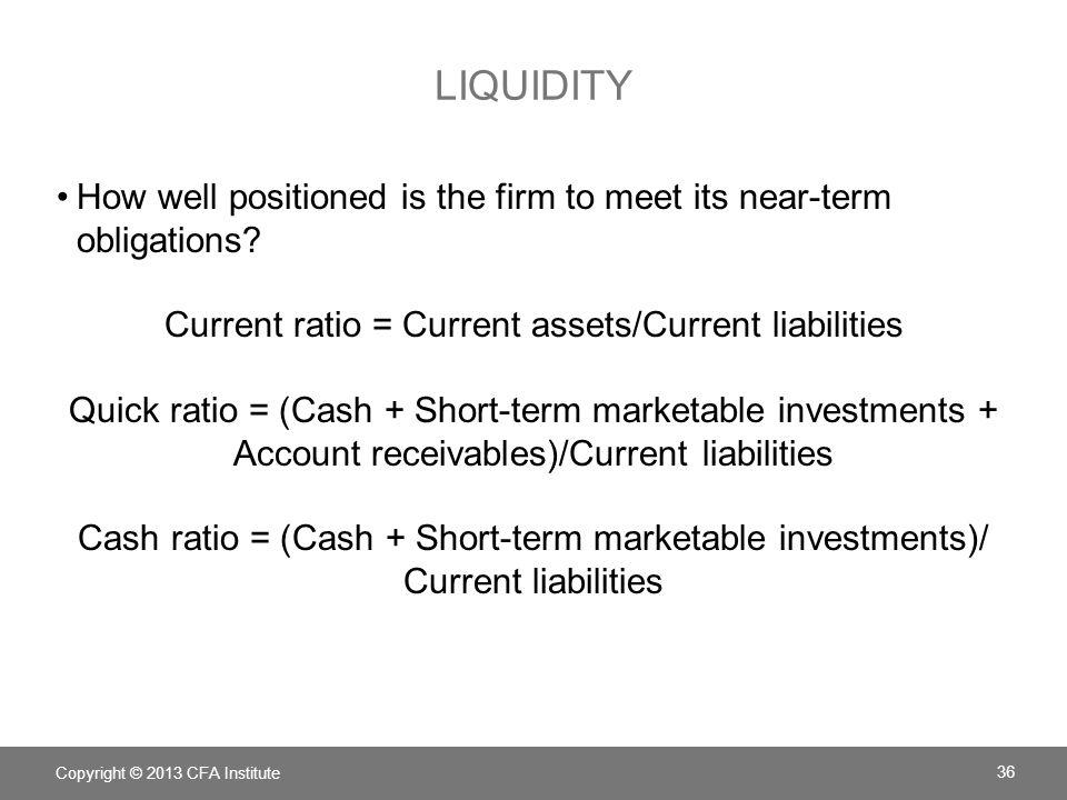 Current ratio = Current assets/Current liabilities