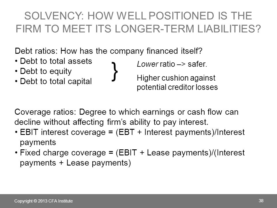 Solvency: How well positioned is the firm to meet its longer-term liabilities