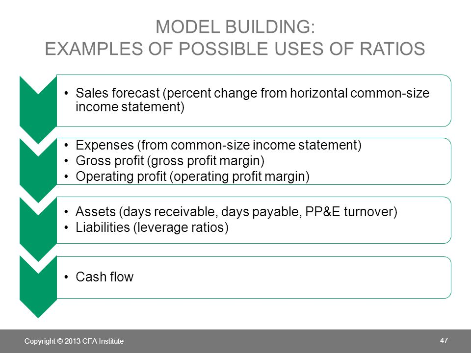 model building: examples of possible uses of ratios