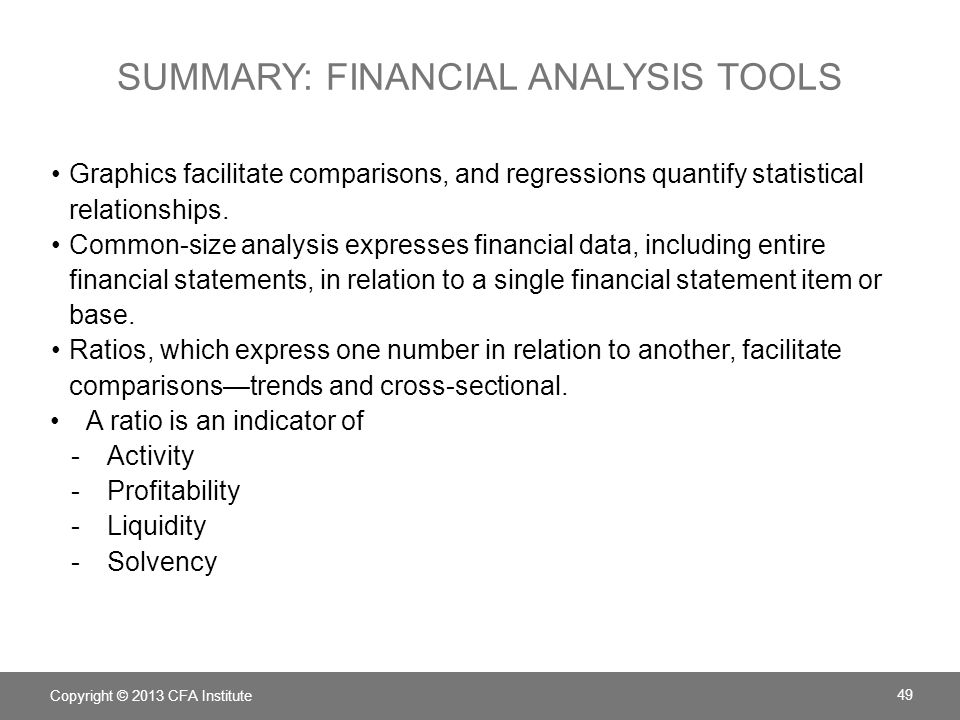 Summary: financial analysis tools