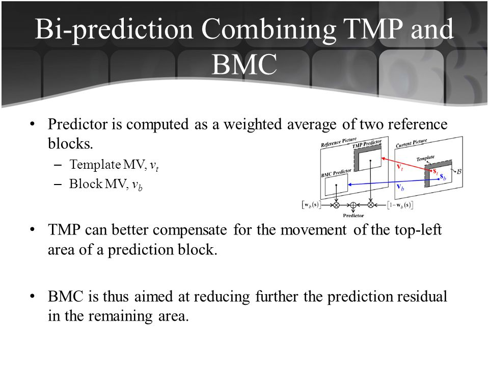 Bi-prediction Combining TMP and BMC