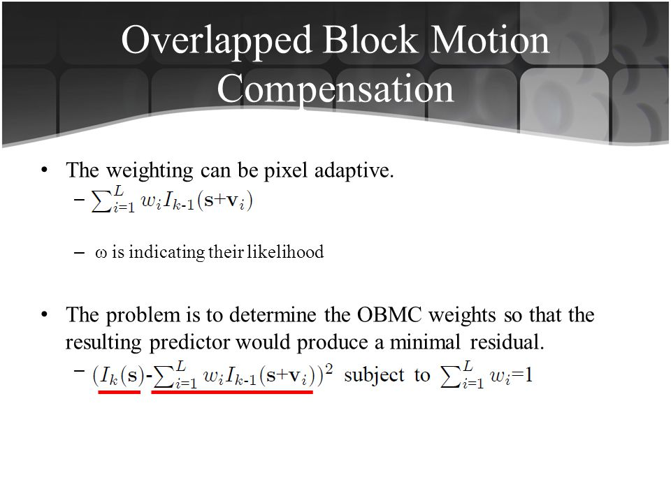 Overlapped Block Motion Compensation