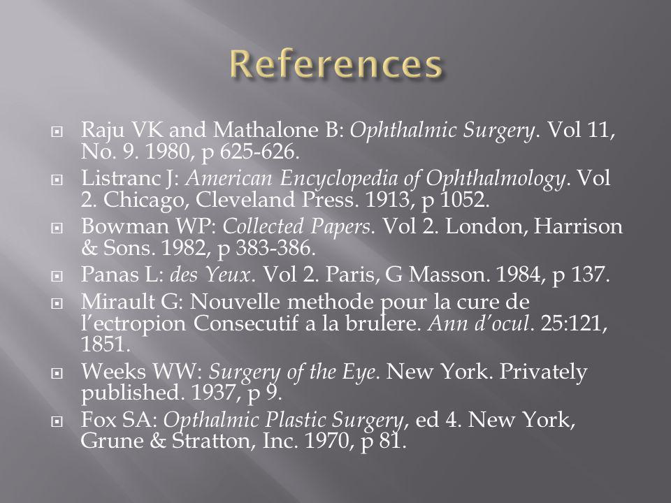 References Raju VK and Mathalone B: Ophthalmic Surgery. Vol 11, No. 9. 1980, p 625-626.