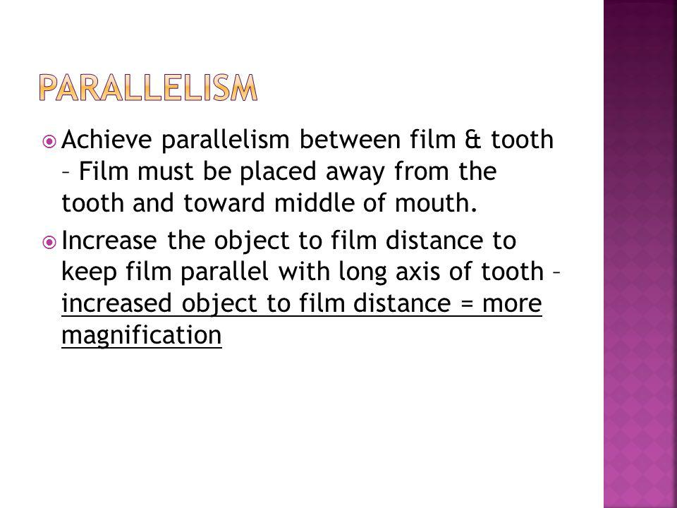 Parallelism Achieve parallelism between film & tooth – Film must be placed away from the tooth and toward middle of mouth.