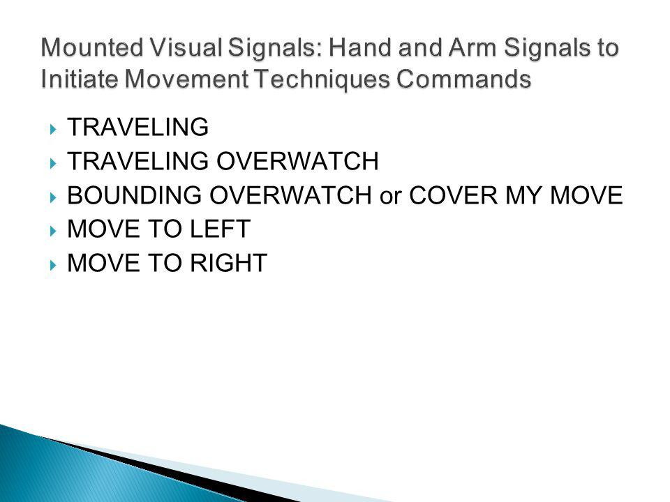 Mounted Visual Signals: Hand and Arm Signals to Initiate Movement Techniques Commands