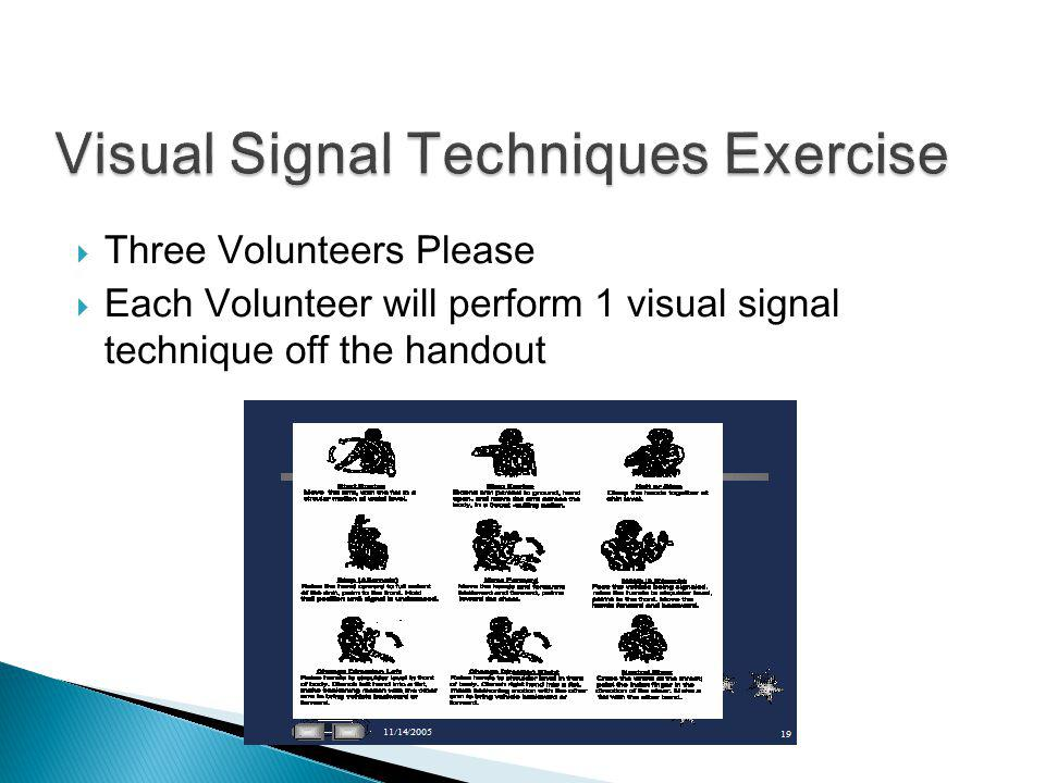 Visual Signal Techniques Exercise