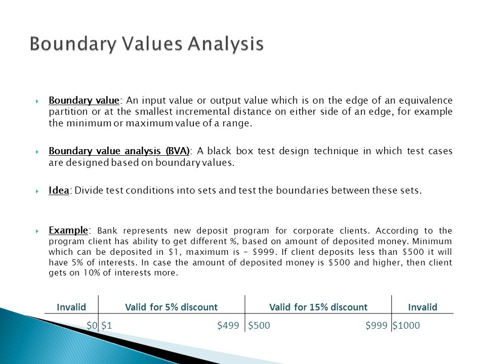Boundary Values Analysis