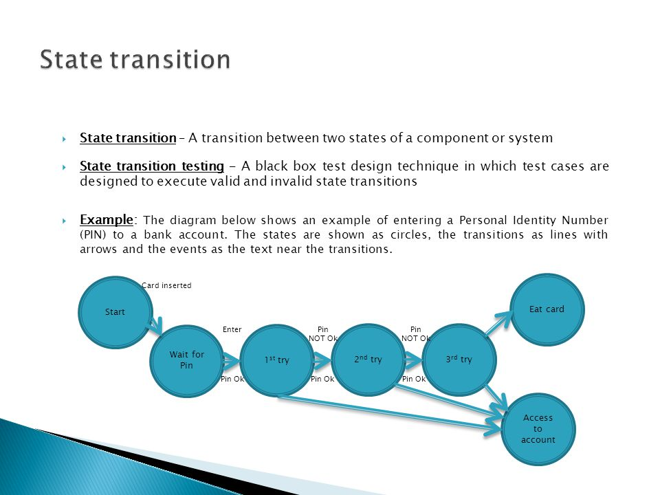 State transition State transition – A transition between two states of a component or system.