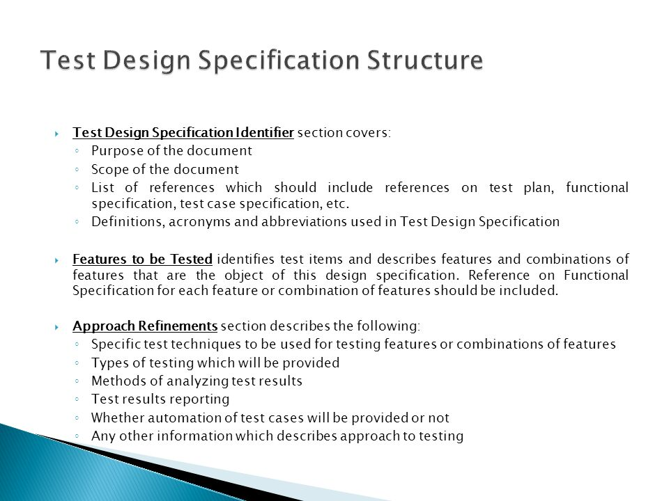 Test Design Specification Structure