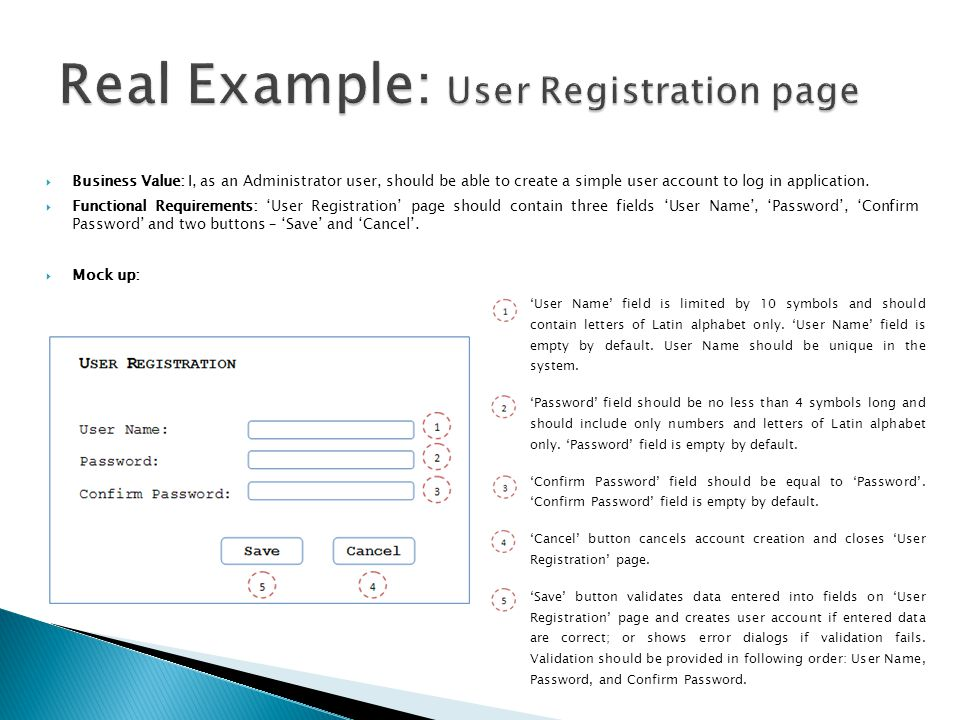 Real Example: User Registration page