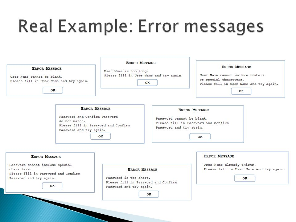 Real Example: Error messages