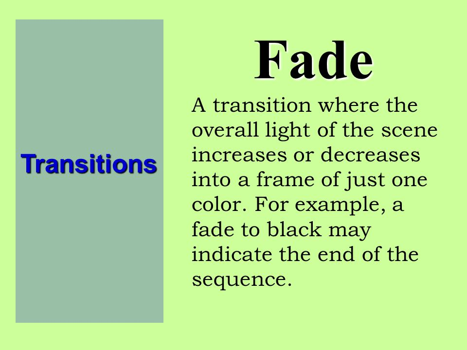 Fade Transitions.