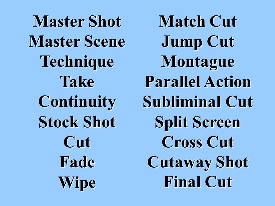 Master Shot Master Scene Technique Take Continuity Stock Shot Cut Fade Wipe Match Cut Jump Cut Montague Parallel Action Subliminal Cut Split Screen Cross Cut Cutaway Shot Final Cut